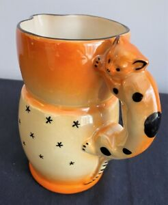 Art Deco Lusterware orange milk jug kitten handle Czechoslovakia 17cms