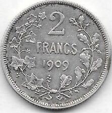 2 Francs argent Léopold 2  1909 FR
