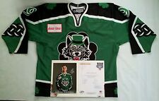 2008 REEBOK CHICAGO WOLVES ST.PATRICK DAY #9 SCHULTZ GAME USED JERSEY SIZE 54