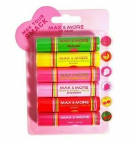 New Max & More Fruity Flavored Lip Balm Pack Of 6 - YY2