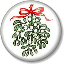 "Mistletoe 25mm 1"" Pin Button Badge Retro Vintage Dickensian Xmas Christmas Kiss"