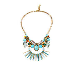 BID * Stylish Anthropologie Grand Quana Turquoise Teal Gold Statement Necklace
