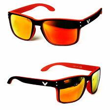 Nerd Sonnenbrille Rechteckig Bi Color Zweifarbig Rot schwarz Orange Rennec V