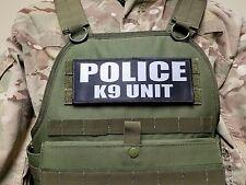 "3x8"" POLICE K9 UNIT Black Grey Tactical Hook Plate Carrier Morale Raid Patch"