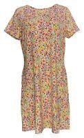 Isaac Mizrahi Live! Dress Sz M Floral Print Short Sleeve W/Pocket Orange A379121