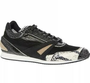 BALENCIAGA Black Snakeskin Leather & Mesh Panel Sneakers Trainers -Made In Italy