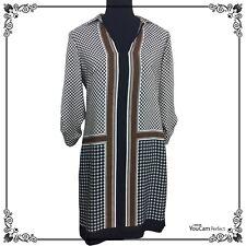 Ann Taylor brown black white geo pattern quarter sleeves sheath dress S