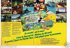 Publicité advertising 1977 (2 pages) Jeu Concours Disneyworld Floride