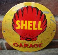 SHELL ENAMEL SIGN round logo garage petrol oil vitreous porcelain rust VAC195
