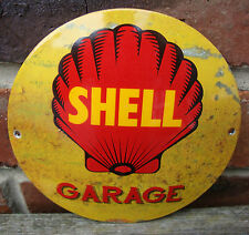 SHELL ENAMEL SIGN round logo garage petrol oil vitreous porcelain rust VAC195