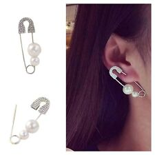 Cool Fashion Pin Punk Jewelry Safety Brooch Ear Stud Earring Pearls
