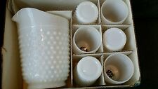 NEW Vintage Anchor Hocking White Milk Glass Hobnail Pitcher & 6 Glasses in BOX
