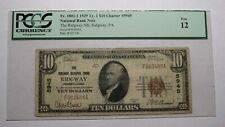 $10 1929 Ridgway Pennsylvania PA National Currency Bank Note Bill Ch. #5945 FINE
