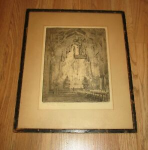 "ANTIQUE OLD "" ST LUKE'S CHAPEL"" INK ON PAPER FRAMED PICTURE - SIGNED"