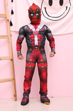 Deluxe Deadpool Cosplay Costume For Kids Boys Muscle Jumpsuit Halloween Party