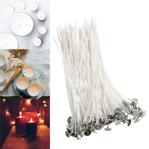 """50pcs Candle Wicks Cotton Core Pre Waxed With Sustainers For Candle Making 8"""""""