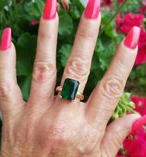 Elegant Emerald Cut Emerald Solitaire Ring, 18KRG/925, Size 7
