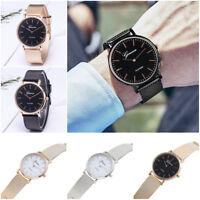 Men's Women's Fashion Round Case Alloy Mesh Strap Concise Quartz Wrist Watch 1Pc