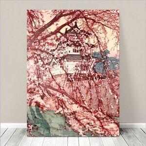 "Japanese Floral Art *FRAMED* CANVAS PRINT 16x12"" Temple Castle Cherry Blossoms"