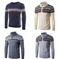 Men Winter Warm Casual Crew Neck Knit Sweater Pullover Knitwear Jumper Sweater