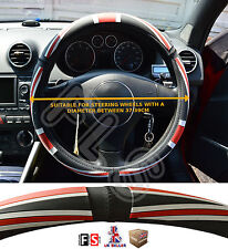 UNIVERSAL FAUX LEATHER STEERING WHEEL COVER BRITISH FLAG BLACK/RED-Mini