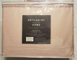 ARTISAN NY HOME 4 piece PINK King Bed Sheet set 100% Cotton Brand New Bedding