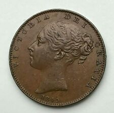 Dated : 1845 - Copper Coin - One Farthing - Queen Victoria - Great Britain
