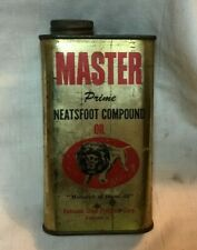 Vintage Master Neatsfoot Compound Oil Tin Can pics Lion Petronia Shoe Products