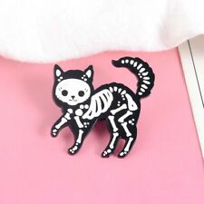 Black cat skull badge brooch pin sugar skull style cat enamel flash