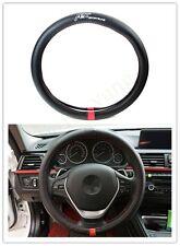 1Pcs For VW ABT Movement Black Carbon Fiber Car Non-Slip Steering Wheel Cover