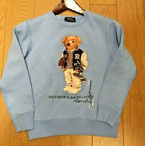 Polo Ralph Lauren Football Bear Boys Fleece Sweatshirt LIMITED EDITION BLUE