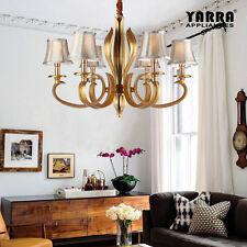 6 Light Chandelier Pendant Lamp W/ Fabric Shade Luxury Vintage Style-golden