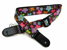 Ukulele Flowers Guitar Strap Denim Guitar Belt Hawaii Style Soft Black New