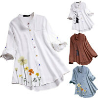 Women Casual Print Long Sleeve Blouse Fashion Colorful Button Shirt Tops Blouse