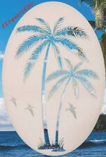 Palm Trees Left Static Cling Window Decal 8x12 Oval Tropical Decor for Glass