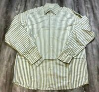 ERMENEGILDO ZEGNA Yellow Blue Striped Long Sleeve Button Down Shirt Italy L