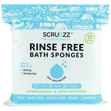 Scrubzz Rinse-Free Bath Sponges, Set of 25 Pack of 25 sheets Freeship