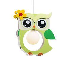 Elobra suspension lumineuse pour enfant Motif Chouette bois Vert Tilleul a