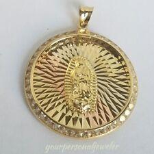 "10k yellow gold virgin Mary Holy mother diamond cut round pendant charm 1.25""lng"