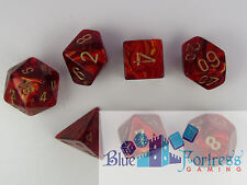 Chessex Scarab Dice - 7 Die Set Scarlet With Gold D20 D12.