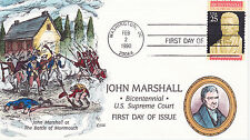 COLLINS HAND PAINTED FIRST DAY COVER FDC 1990 JOHN MARSHALL SUPREME COURT BICEN