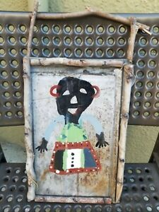 Rare Buddy Snipes African American Folk Art oil painting on tin signed
