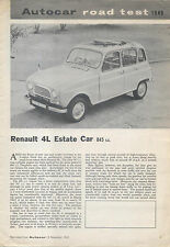 Renault 4L Estate Car Period Road Test Reprinted from Autocar 1963