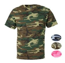 Mens 100% Cotton Camo Camouflage Tactical Hunting Short Sleeve Crewneck T Shirt