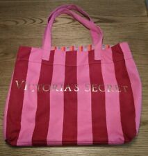 Victoria's Secret Canvas Tote Beach Bag Large Pink and Red Stripes Reversible