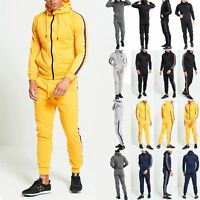 Mens Hooded Side Striped Top Bottoms Joggers Jogging Gym Sweat Pants Tracksuit