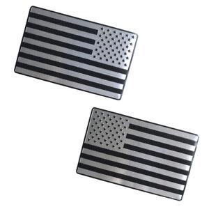 1 Pair Black Silver USA Flag Car Body Decor Emblem Stickers for Silverado Sierra