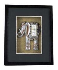 Arte de Pared Negro Marco Plateado Elefante Mosaico canvased En Caja