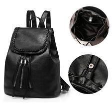 Ladies Womens Backpack School Rucksack College Satchel Travel Bags Solid Black