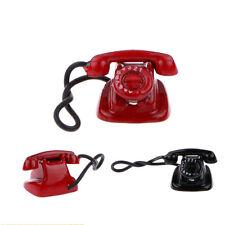 1:12 Scale Red Black Retro Telephone Dollhouse Miniature Home Decor Accs Phone